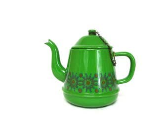 Cute Vintage Bright Green Enamel Tea Pot with Medallion Band Design