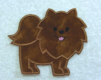 Pomeranian Dog Fabric Embroidered Iron On Applique Patch Ready to Ship
