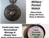 """SHIPS 11/21 w/Free Gift Custom Military USA Pocket Watch Marines Army Air Force Navy Personalized with 31"""" Chain Necklace Veteran Soldier Gi"""