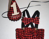 Boys buffalo plaid Lumberjack First Birthday Outfit Cake Smash outfit red and black plaid 1st birthday hat suspenders, diaper cover, bow tie