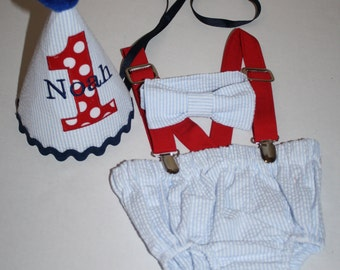 blue and red baby boys 1st birthday outfit, cake smash outfit, first birthday hat, bow tie, diaper cover bloomers, suspenders
