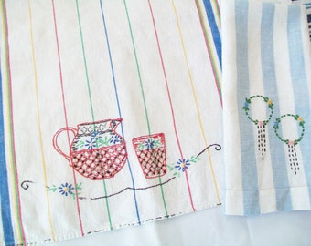 SALE - 1950s Linen Towel with Free Towel, hand embroidered, vintage