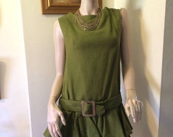 Vintage 60s MOD Green Ruffle Drop Waist Sleeveless Silver Buckle Ladies  Dress Size Medium