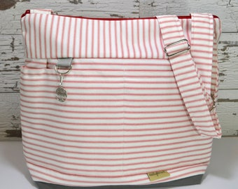Purse or Tote bag in Red Ticking Stripe, waterproof base -Lightweight and durable! by Darby Mack made in the USA