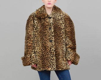 90s Coat Leopard Coat Faux Fur Coat Retro Swing Coat Vintage Cheetah Animal Print Oversize Jacket Large L