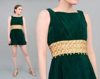 60s Green Velvet Dress, Micro Mini Dress, Holiday Party Dress, Gold Sequin Beaded Dress, 60s Mod Mini Dress Small XS S