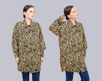 Vintage 80s Leopard Blouse | Collared Button Up Shirt | 1980s Oversize Top | Long Sleeve Animal Print Blouse | size Small Medium S M
