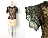 vintage 1930s lace blouse / 30s black lace blouse / True Romance