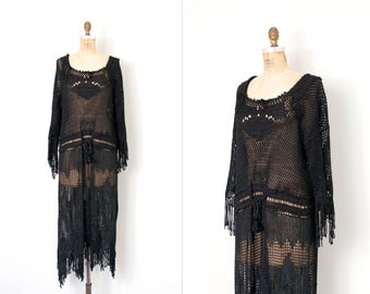 vintage 1970s crochet dress ⦁ black crochet 70s dress ⦁ vampy black fringed dress