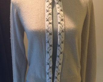 Vintage Light Beige  Embroidered  Beaded Cashmere Cardigan/ Sweater/ Jacket/