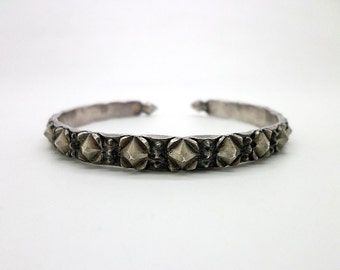 Old Sterling Silver Spiked Ethnic Cuff Bracelet Highly Textural