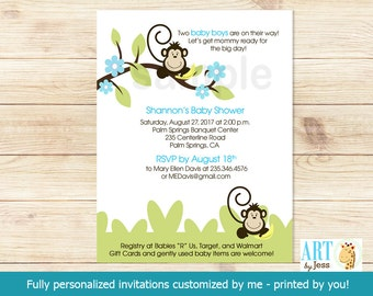 Silly Monkeys Twin Boys Customized Monkey Baby Shower Invitations | PDF or JPG Printable Personalized Digital File