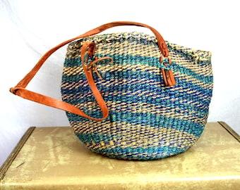 Vintage Sisal Leather Woven Market Bag Handbag