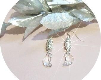 Moon Earrings. Crystal Moon, Rhinestone Earrings. Moon Dangle Earrings, Crystal Dangle Earrings, Rhinestone Drop Earrings, Funky Earrings