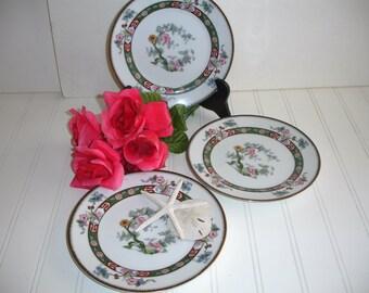 Vintage China Noritake Set of 3 Plates Lunch Dessert Size Rosewood Pattern Shabby Cottage Mix Match China