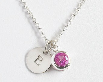 October Birthstone and Initial Necklace Sterling Silver / Personalized Birthstone Jewelry / Initial Necklace with Birthstone