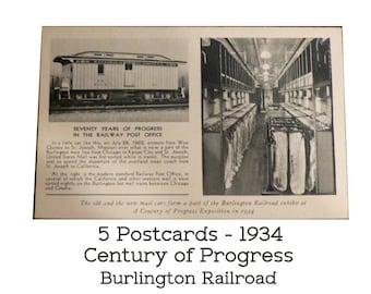 5 Burlington Railroad Postcards. 1934 Century of Progress Chicago Worlds Fair. Five Identical Post Cards. Souvenir from the Fair! Unused.