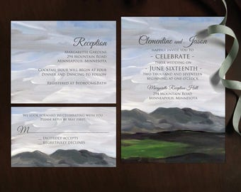 Serene Mountains, printable Wedding Invitation template suite with rsvp, info card / NRDIY-19518