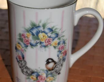 Country Rose Design Heartprint Otagiri Collectible Jan Jameson Bird Motif Coffee/Tea Mug