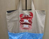 RESERVED for Brenda Beach Crab Stack Eco Friendly, Purse, Bag, Beach Bag