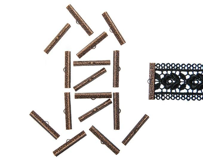 150pcs.  38mm ( 1 1/2 inch ) Antique Copper Ribbon Clamp End Crimps - Artisan Series
