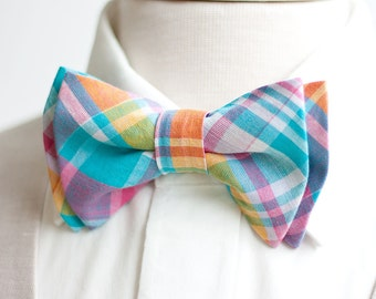 Bow Tie, Mens Bow Tie, Bowtie, Bowties, Bow Ties, Bowties, Pink And Blue, Groomsmen Bow Ties, Wedding Bow Ties - Aqua, Pink, Yellow Plaid