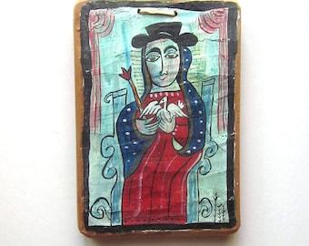 Vintage Religious Art Hand painted Wood Plaque Folk Art Christian Home Decor