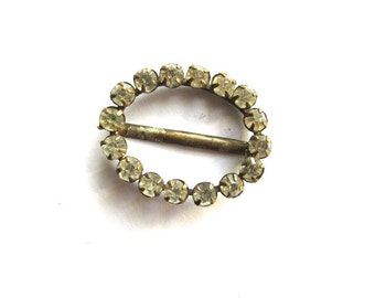 French Paste Rhinestone Buckle Slide  Victorian Doll Supply Assemblage Jewelry