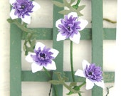 FLOWER KIT CLEMATIS Purple white Passion flower Paper miniature flower dolls house garden