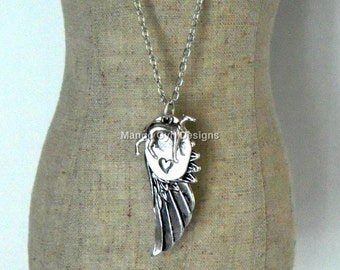 Greyhound Silver Angel Wing Always Necklace, Greyhound Necklace, Greyhound Wing Necklace, Greyhound Jewelry, Greyhound Gifts, Greyhound Love