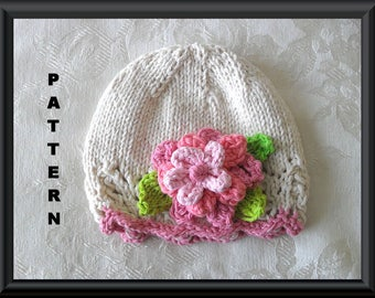 Knitted Hat Pattern Baby Hat Pattern Instant Download Pattern Infant Hat Pattern Knit Hat with Flower Children Clothing: FEMININITY HATIFIED