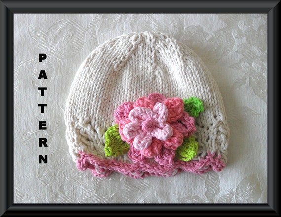 Knit Hat With Flower Pattern : Knitted Hat Pattern Baby Hat Pattern Instant Download Pattern Infant Hat Patt...