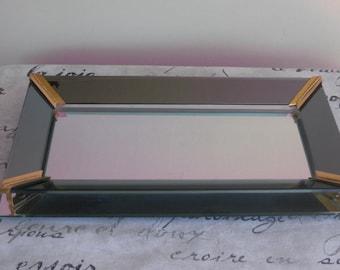 Art Deco Vanity Mirror Tray, Vintage Dresser Mirrored Perfume Display,