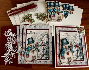 Hand Made Red and Gray Snowman with Mouse and Birdhouse Greeting Card Kit - 4 cards