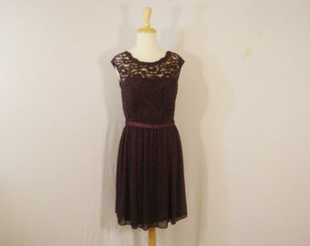 Party Prom Special Occasion Dress Purple Lace & Chiffon Short David's Bridal Dress L 14