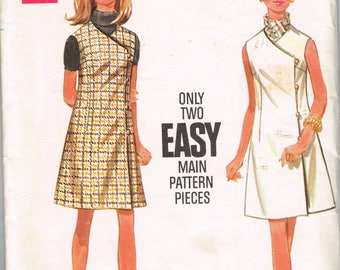60s Jumper or Sleeveless Dress Pattern Butterick 5000 Bust 36 Easy Wrapped Jumper or Mod Dress Wrap Dress Vintage 1960s Sewing Pattern