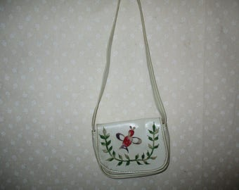 Childs  White Purse, Flowers red bird