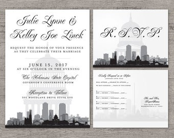 Little Rock Invitation Wedding Party Special Event Flat City Skyline Arkansas Hometown Travel Other Cities available