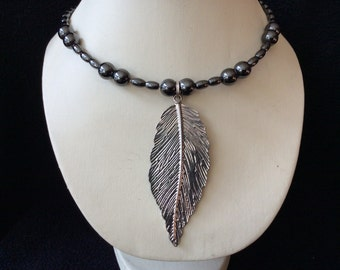 Silverleaf magnetic hematite memory wire choker necklace