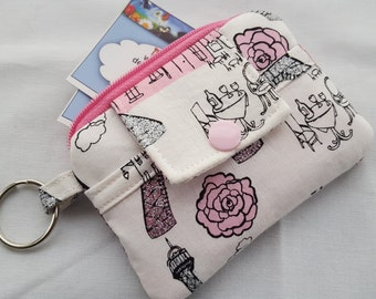 Zipper Wallet Pouch Key Chain Card holder - Paris Love