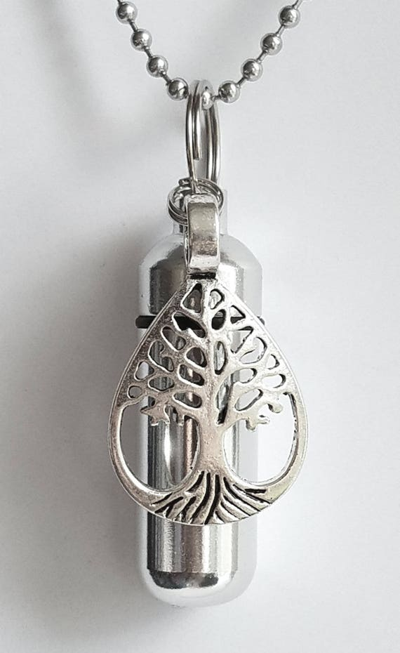 Personal CREMATION URN NECKLACE with Teardrop Tree Of Life - Includes Velvet Pouch, Ball Chain, Fill Kit