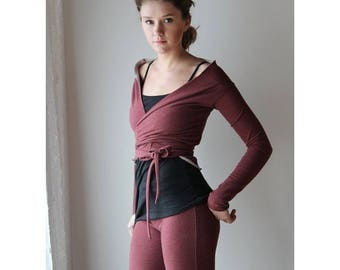 cropped wrap shrug with off the shoulder detail in cotton french terry - WAFFY loungerie and loungewear range - made to order