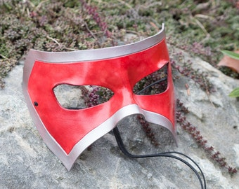 Red and Silver Leather Masquerade Mask