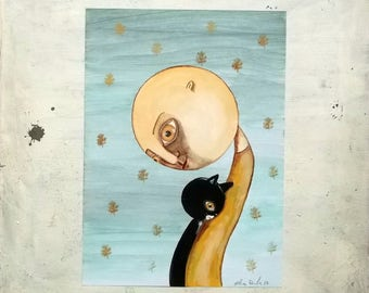 Of men and cats original painting illustration - wall art - child portrait - home decor