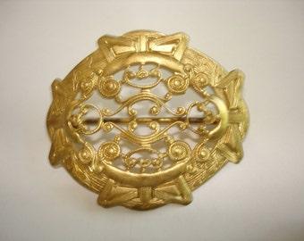 Gold Tones Filigree  Brooch
