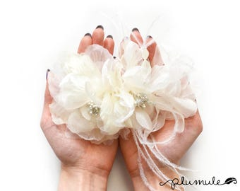"""Millinery Flower - Christina Organza & Ostrich Feathers Flower - Ivory (6"""")"""