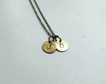 Initial necklace. Hand stamped necklace. Simple jewelry. Bronze. Personalized. Monogram. Small disc. Brass. Mom necklace. Modern. Mother.