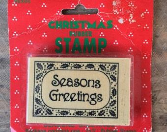 Vintage Christmas Rubber Stamp, Seasons Greetings Ink Stamp, Vintage Craft Supplies, Unused