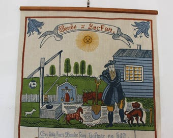 Scandinavian Wall Hanging Screen Printed Linen Farm Scene Textile VINTAGE by Plantdreaming