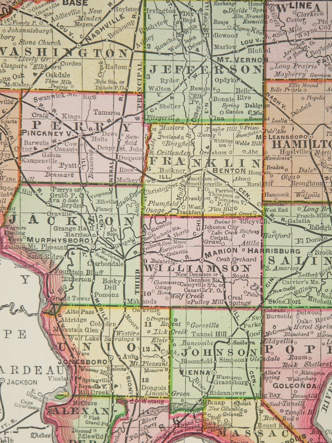 Large Wall Map Illinois 1897 Vintage Illinois By
